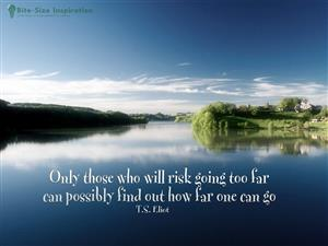 TS Eliot quote Only those who will risk going too far can possiby find out how far one can go.